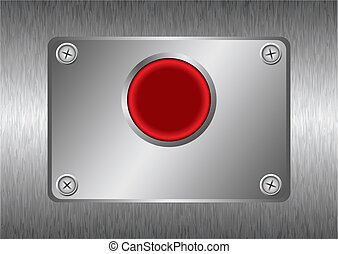 silver red metal button