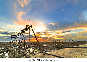sunset - Wooden jetty with orange sunset background