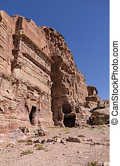 One of the unnamed Royal tombs. Petra, Jordan. No people
