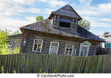 Old abandoned wooden house. Russia.