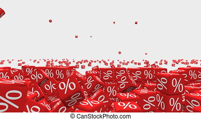 Discount - Symbols of percent on falling red cubes