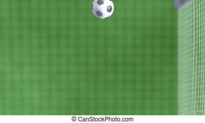 soccer ball net, slowmotion 4k - soccer ball net, 3d...