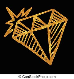 Hand drawn diamond isolated on black background, vector one doodle gold diamond, design for greeting card, poster, banner, printing, mailing