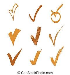 Set of vector doodle check on white background, hand drawn gold illustration for design
