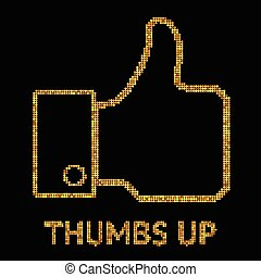 Vector gold illustration of Thumb Up icon, sumbol on black background for design