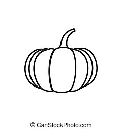 Ripe pumpkin icon, outline style - Ripe pumpkin icon in...