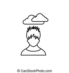 Depressed man with dark cloud over his head icon in outline...