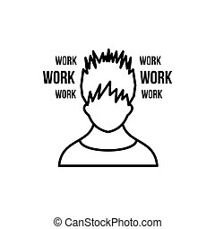 Man and work words icon, outline style