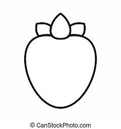 Ripe persimmon icon, outline style - Ripe persimmon icon in...