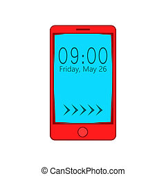 Smartphone with clock on display icon - icon in cartoon...