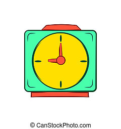 Colorful alarm clock icon, cartoon style - icon in cartoon...