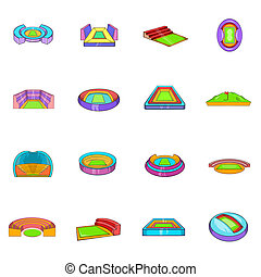 Stadium icons set, cartoon style - Stadium icons set in...