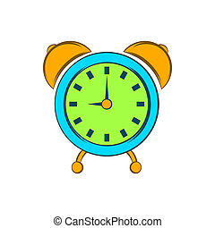 Alarm clock icon, cartoon style - icon in cartoon style on a...