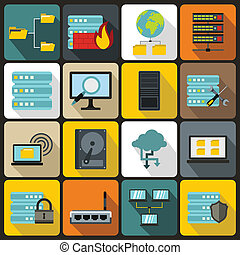 Big data icons set, flat style - Big data icons set in flat...