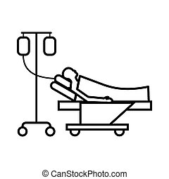 Patient in bed on a drip icon, outline style