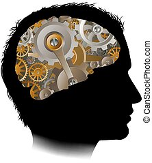 Man Machine Workings Gears Cogs Brain