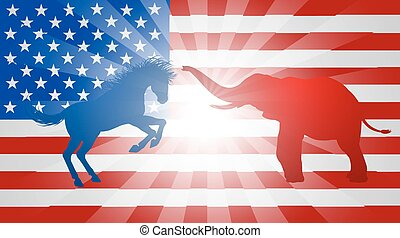 American Election Concept - A donkey and elephant...