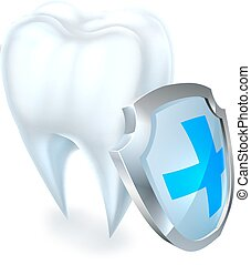 Tooth and Shield Protection Concept - A medical dental...
