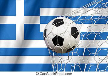 Soccer ball on Greek grunge flag