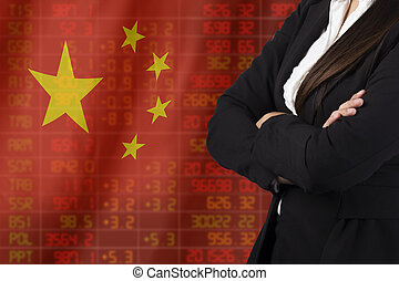 Flag of China. Downtrend stock data diagram with business woman