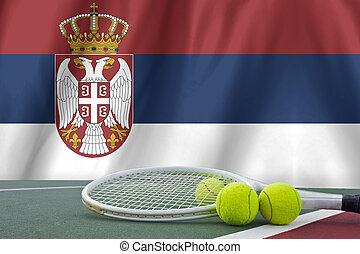 Serbia Flag Background and tennis ball and tennis racket