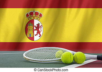 spain Flag Background and tennis ball and tennis racket