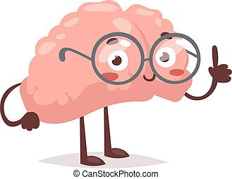 Smart brain character vector illustration. - Smart brain...