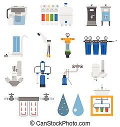 Water filters vector set - Set of water filter color...