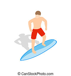 Surfer man on surfboard icon, isometric 3d style - icon in...