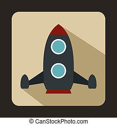 cohete, icono, plano, estilo