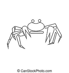 Crab icon, outline style - Crab icon in outline style...
