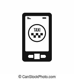 taxi, App, en, teléfono, icono, simple, estilo