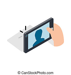 Man taking selfie photo on smartphone icon - icon in...