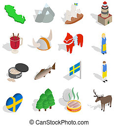 Sweden icons set, isometric 3d style - Sweden icons set in...