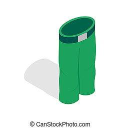 Green ski trousers icon, isometric 3d style