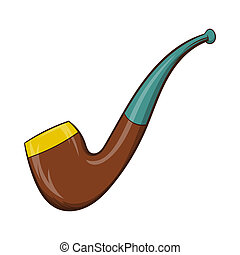 Wooden pipe icon, cartoon style - icon in cartoon style on a...
