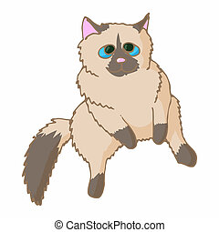Cat icon, cartoon style - Cat icon in cartoon style isolated...