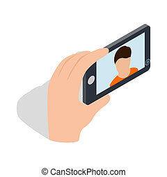 Young man taking selfie photo icon - icon in isometric 3d...