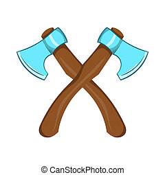 Two crossed axes icon, cartoon style - icon in cartoon style...