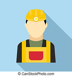 Coal miner icon in flat style - icon in flat style on a...