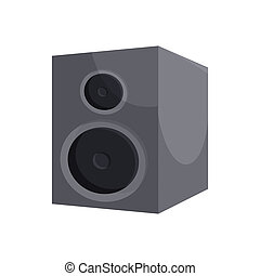 Black sound speaker icon, cartoon style - icon in cartoon...