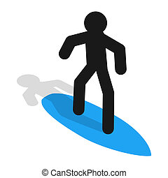 Surfer icon in isometric 3d style - icon in isometric 3d...