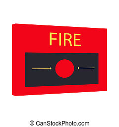 Fire alarm icon, cartoon style - icon in cartoon style on a...