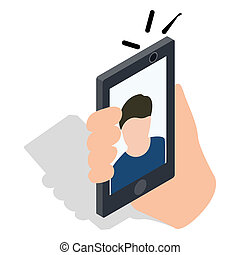 Man taking selfie photo on smartphone icon in isometric 3d...