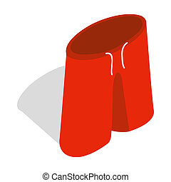 Red shorts for swimming icon, isometric 3d style - Red...