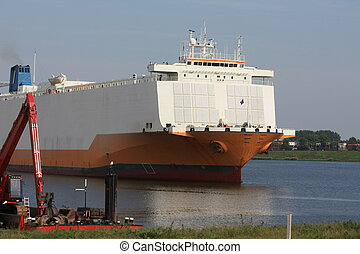 Massive transport over water - Giant boat on a canal,...