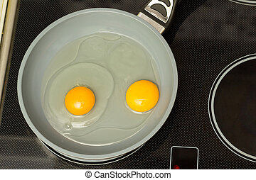 Breakfast Frying eggs - Frying pan with two raw eggs and oil...