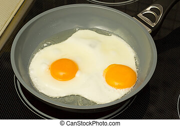 Breakfast Frying eggs - Frying pan with cooked two eggs and...
