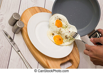 Breakfast Frying eggs - Frying pan and plate with cooked two...