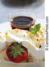 Vanilla Ice Cream with Hot Chocolate Sauce - A vanilla ice...
